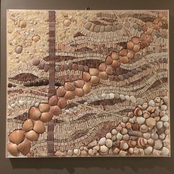 Seashell, pebble and marble mosaic