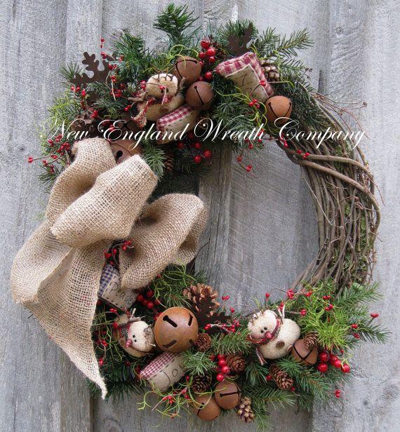 Christmas Wreath, Holiday Wreath, Snowman, Jingle Bells, Woodland, Rustic, Primitive Christmas, Country Christmas Wreath on Etsy, $149.00