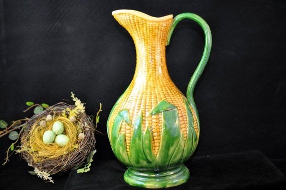 Majolica Corn Pitcher Over 100 pc for Sale by SouthernSisAntiques