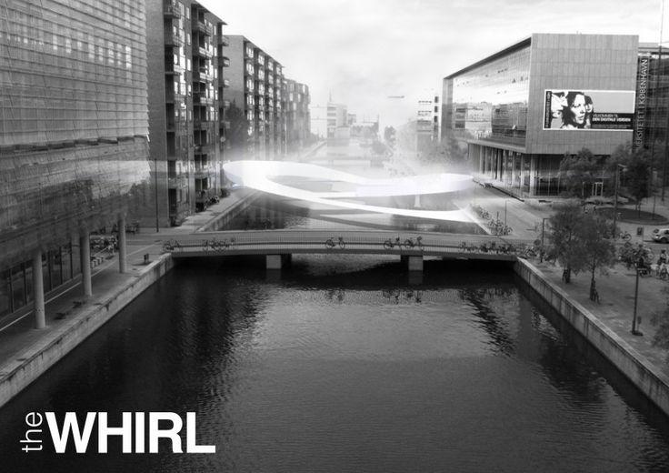 Concept shape - THE WHIRL (by Marc de Vrij & Melle van Dijk)  Ørestad, Copenhagen hotspot design for Innosite 'Mind the gap' competition. Landscape architecture.