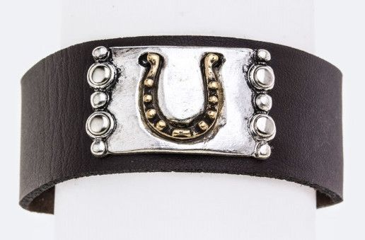 Leather and Metal Horse Shoe Bracelet