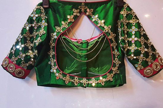 Silk Saree Blouse Designs - Gold Kundan And Mirror Work For Green Pattu Saree