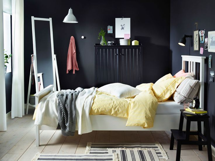 Bed And Bedside Idea For Bedroom A White Bed With Bedtextiles In White And  Yellow Combined With A Step Stool And A Sideboard Both In Black.