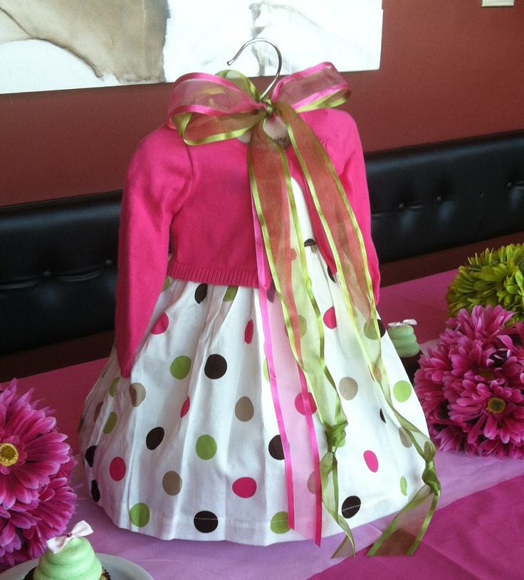 Use a baby dress as the centerpiece for a girl baby shower for Baby shower decoration themes for girls