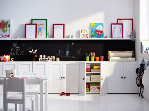 Ikea cabinets for a playroom and shelf to display artwork