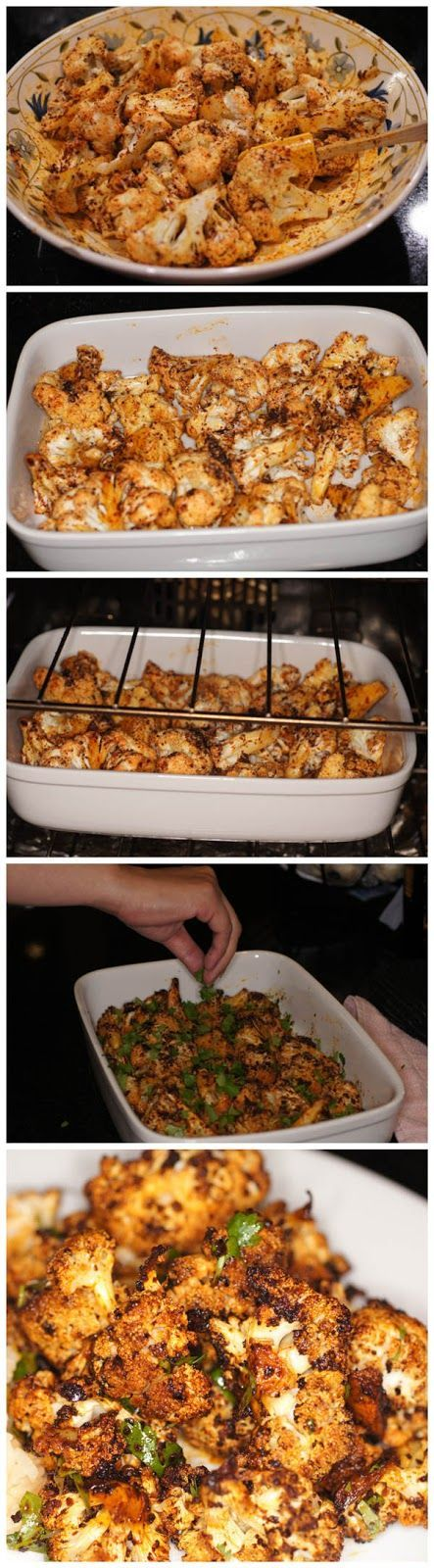 Roasted Cauliflower with Red Chile, Cilantro & Lime! So delicious & simple to make! Awesome 'finger food ' or side dish!! #vegan #easy #cauliflower (comment by @paigeydoll1 )