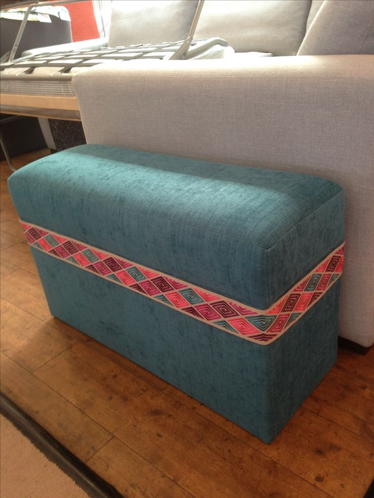 Bespoke clutterbox (seat/storage/footstool) in J Brown's Senna teal and O&L braid.