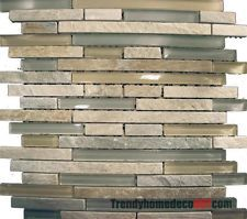 10sf beige green natural stone glass mosaic tile kitchen