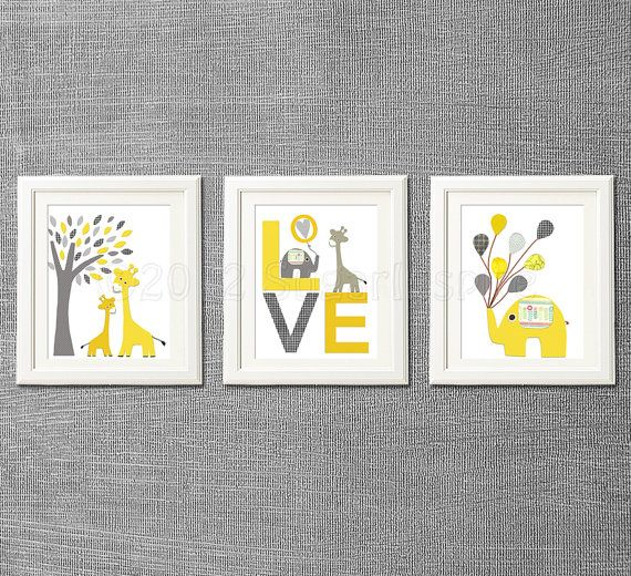 Yellow and grey Nursery Art Print Set Kids Room by SugarInspire, $39.95