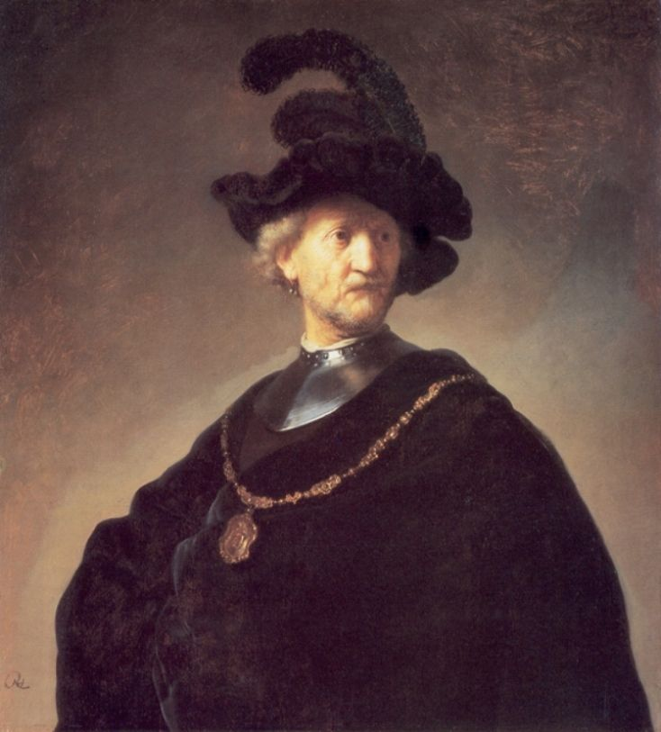 Old Man with a Black Hat and Gorget - Rembrandt