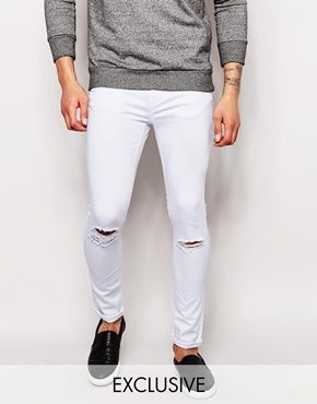 ASOS   ASOS Extreme Super Skinny Jeans With Mega Rips at ASOS