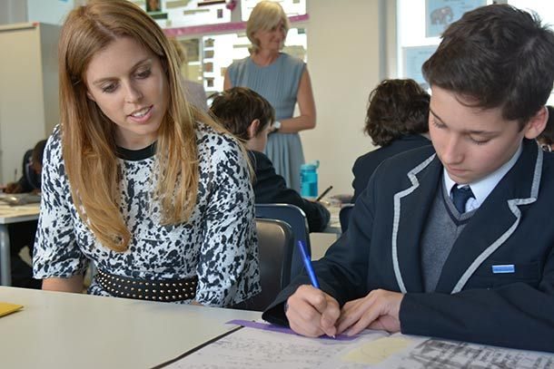 Princess Beatrice with children from Bolingbroke Academy 25 Apr 2014