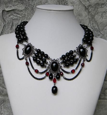 A very Victorian necklace and earring set, black Swarovski pearls with a touch of red accent beads and a set of three a unique and one of a kind necklace, $95.00 https://ericascreativecavalcade.com/products/black-madam-nights