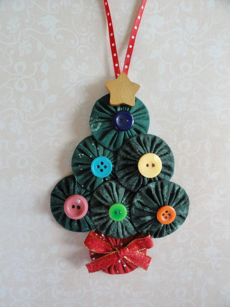 Yoyo Christmas Tree ornament buttons ribbon sewing. $7.00, via Etsy.