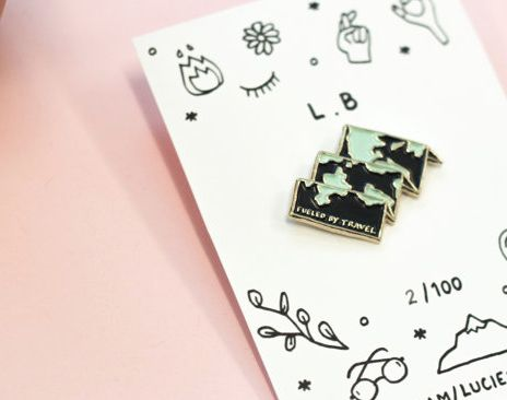 Fueled by travel enamel pin by Lucie Bascoul - instagram.com/luciebascoul