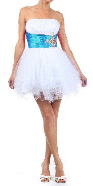 White Turquoise Homecoming Dress Satin Waist Tulle Skirt Strapless