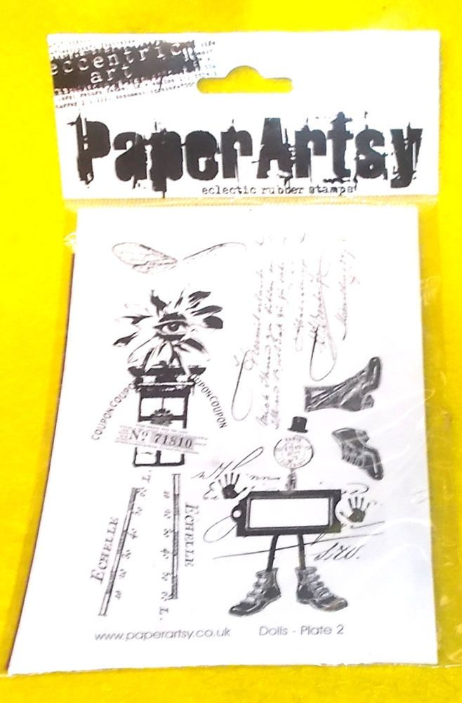 Dolls plate Paper Artsy Eclectic rubber stamps UK unmounted rubber stamp sheet