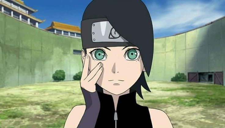 Sarada Uchiha - Green Eyes and Black suit version  She looks so much better and cool ❤️❤️❤️
