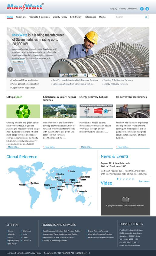 Maxwatt required a rebranding of their online presence with a responsive design that could work on smartphones.   Link:  http://www.maxwatt.in