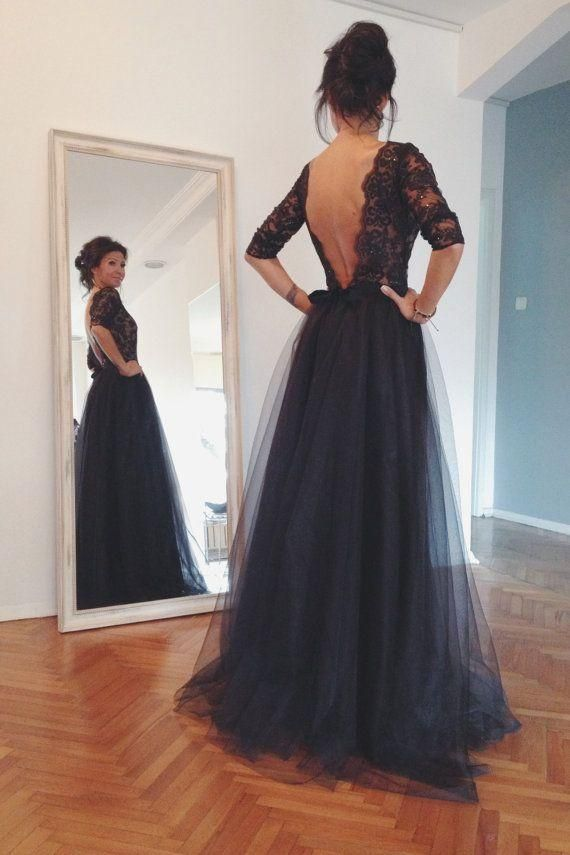 Hot Style Lace And Tulle Black Prom Dresses Half Sleeves Open Back Vintage Dress For Evening Party Vestido De Festa Longo