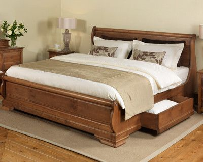 Solid Wooden Sleigh Beds up to 8ft Wide: Revival Beds UK