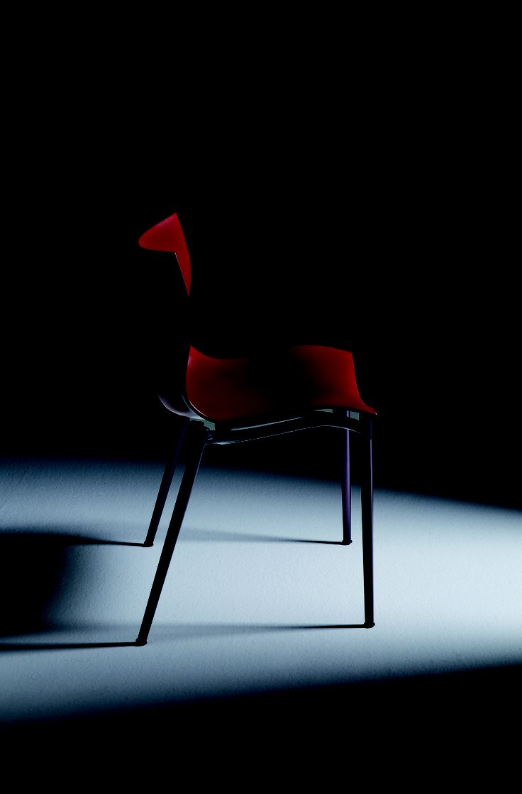 CAM EL EON By Philippe Starck  Stackable easy chair. Black anthracite painted aluminum structure. Black anthracite tubular anodized aluminum legs and Russian leather colored or black anthracite polypropylene shell.