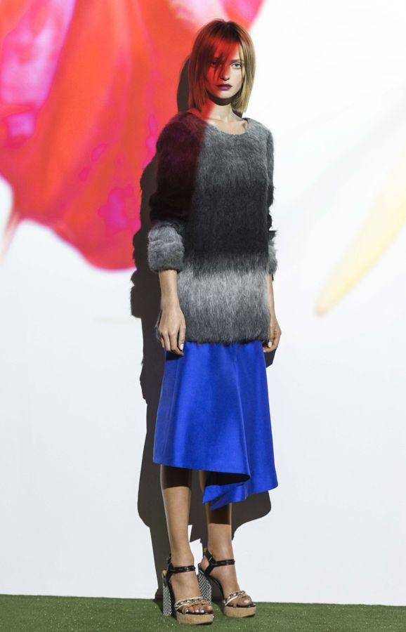 ombre alpaca jumper & electric blue cotton silk midi skirt. www.biancaspender.com