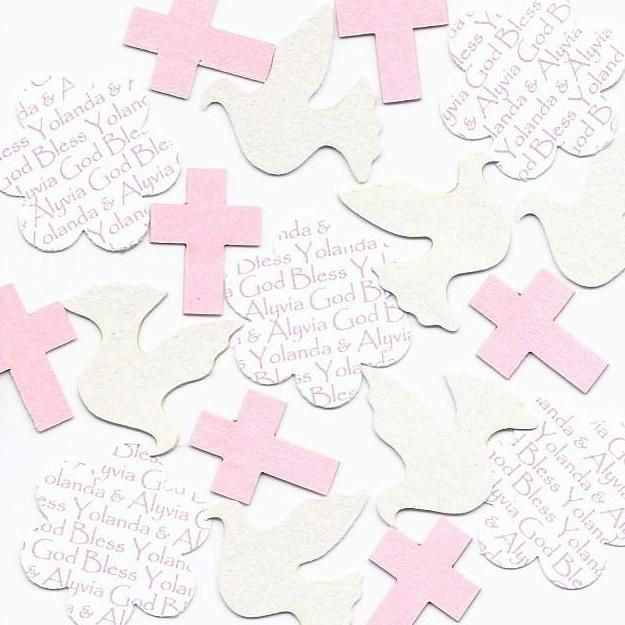 Dove Cross Confetti - Personalized First Communion & Baptism Table Decorations for Girls - Choice of Colors