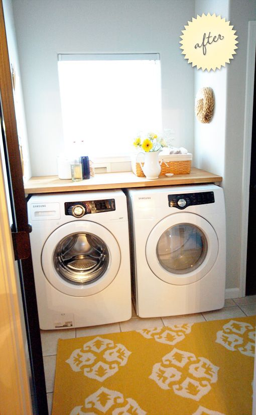 IKEA butcher block used as counter for above washer/dryer