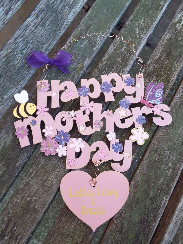 HAPPY MOTHER'S DAY wooden wall-hanging. Personalised. Custom made to order and decorated by hand. by KatijanesCreations on Etsy