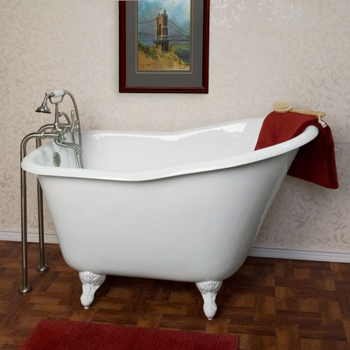 """52"""" cast iron soaking tub fits comfortably in small spaces. Up to your neck without wasting too much water?"""