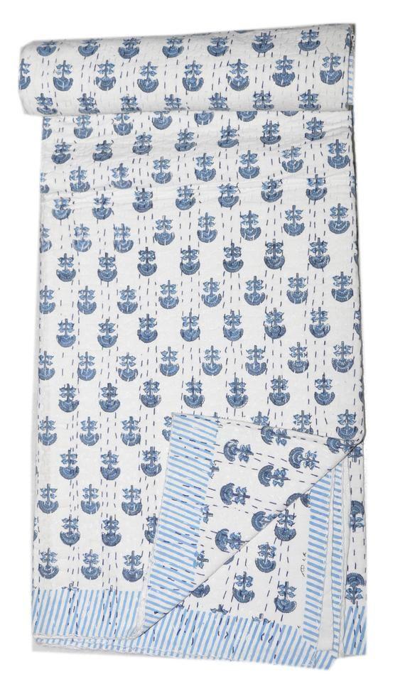 fea1aa5de2 New Kantha Quilt Gudri Reversible Throw Ralli Bedspread Bedding India Made  Of Dabu Block Print On