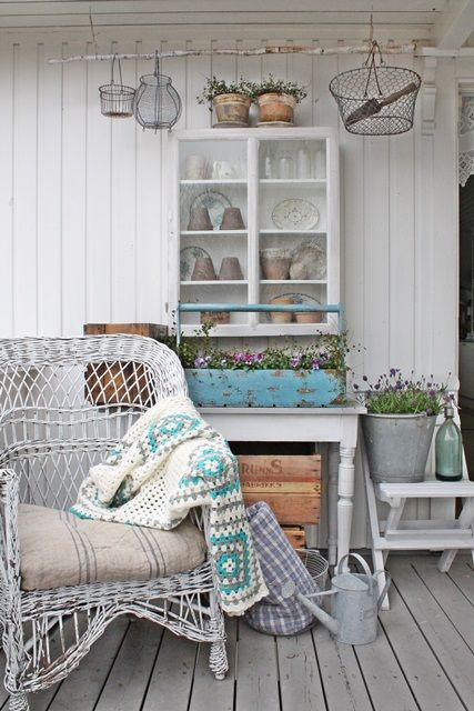 Country front porch charm (1) From: Vibeke Design, please visit Gave me an idea...to paint the patio concrete to look like this wood floor....