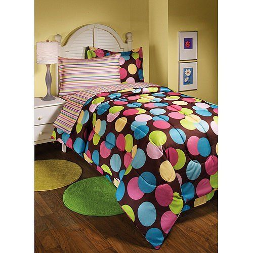 polka dots hot dots twin brown pink comforter set 6 piece bed in a bag by texstyle http. Black Bedroom Furniture Sets. Home Design Ideas