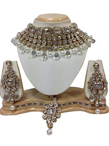 Bollywood Antique White Stones CZ White Pearls Kundan Gol... https://www.amazon.com/dp/B01KBUMH9K/ref=cm_sw_r_pi_dp_x_H5yMybVB0KQ17