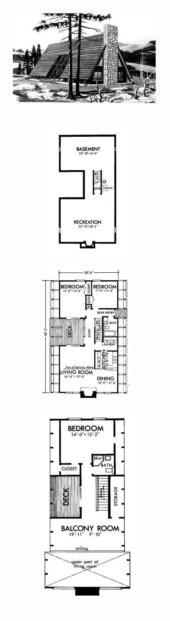 A-Frame Style COOL House Plan ID: chp-40622 | Total Living Area