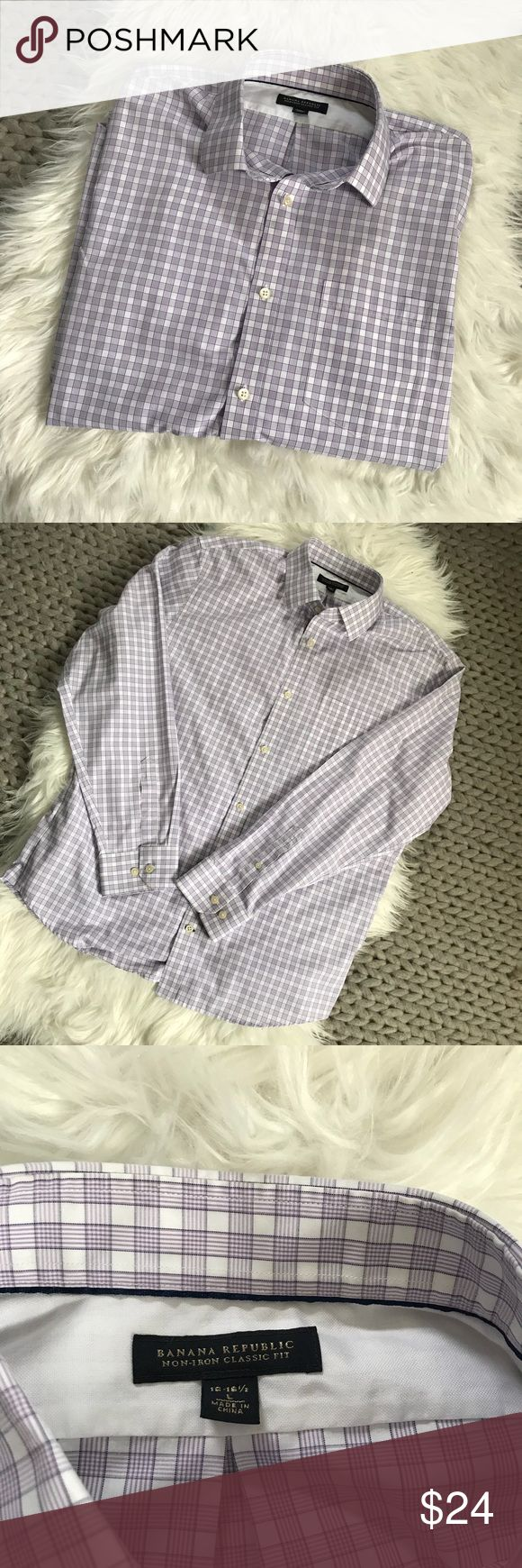 """{ Banana Republic } Lavender Plaid Non Iron Shirt { Banana Republic } Lavender Plaid Non Iron Shirt. 100% Cotton. Excellent condition. No stains, rips, holes or tears. Non smoking home.  Pit to Pit :24"""" Length: 28"""" Banana Republic Shirts Dress Shirts"""