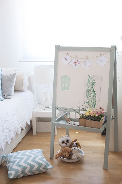 IKEA hacks: An IKEA chalk board / white board decorated with pale blue chalk paint. IKEA hacks - how to paint an IKEA chalk board to make it look beautiful for a kids room or playroom