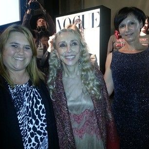 """Gratitude is the memory of the heart."" Great pleasure meeting Vogue Italia president and editor in chief Franca Sozzani — with Moana Founders Andrejka Korosec and Nina Tasev at Beauty in Vogue Night Bologna."