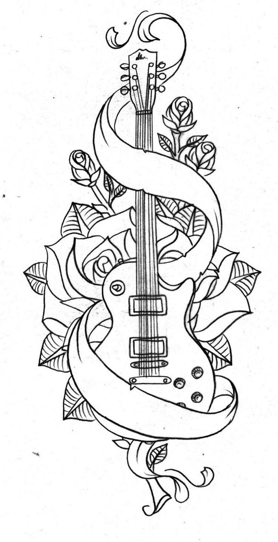 modèle tatouage intéressant , guitare et roses pour les amateurs de musique