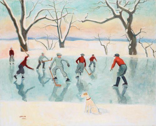 Hockeyspelare , Hockey Players - Einar Jolin , 1944 Zwedish, 1890-1976 Canvas 81 x 100 cm