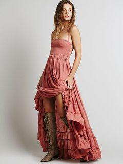 Boho vestido sem costas cintas Pintuck Maxi Dress