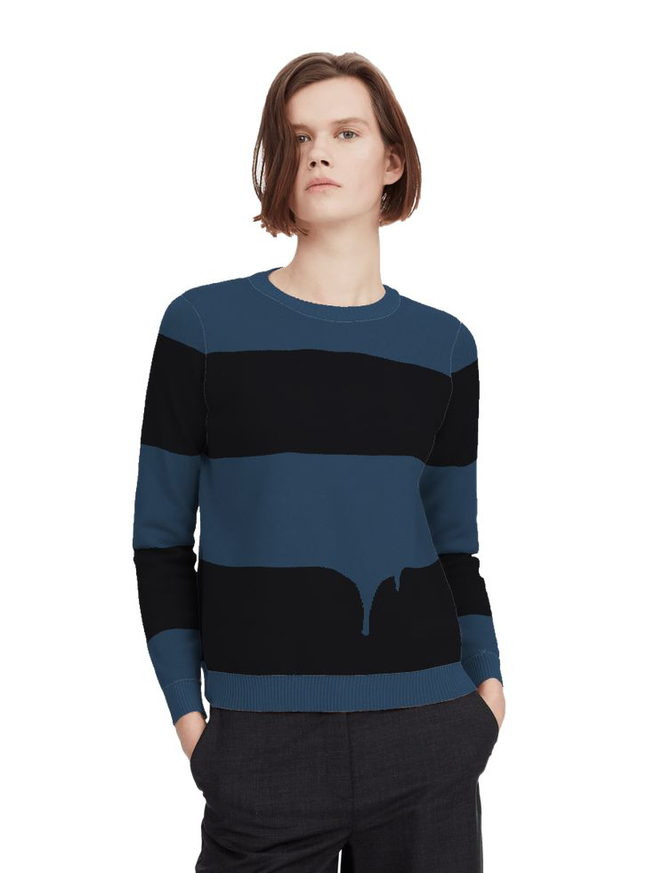 Paris Essex took a classic stripy knit and aimed to disrupt it with drips. You get to decide how drippy your jumper will end up being!