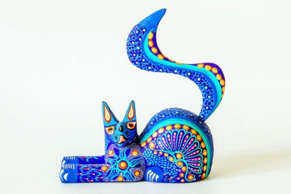 Mexican Folk Art - Wood Carving by MARGARITA & GABRIELA SOSA : Blue Cat