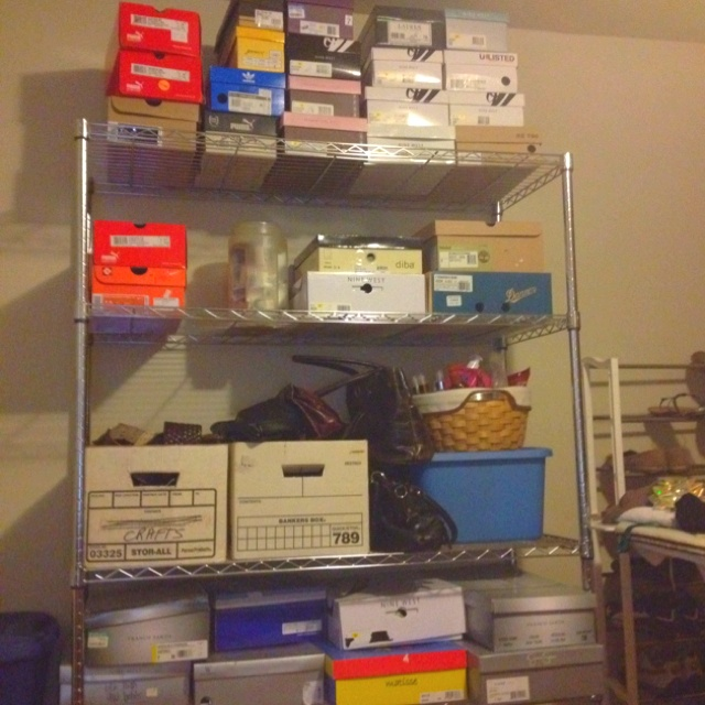 Spare bedroom project... Hard to maintain collection of over 120 pairs of shoes without storing any. Lol