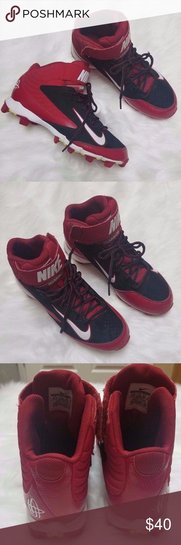 NIKE HUARACHE High Top Trainer Athletic Cleats NIKE HUARACHE red/black high top trainer athletic cleats. Men's size 8.5. Excellent used condition! Nike Shoes Athletic Shoes
