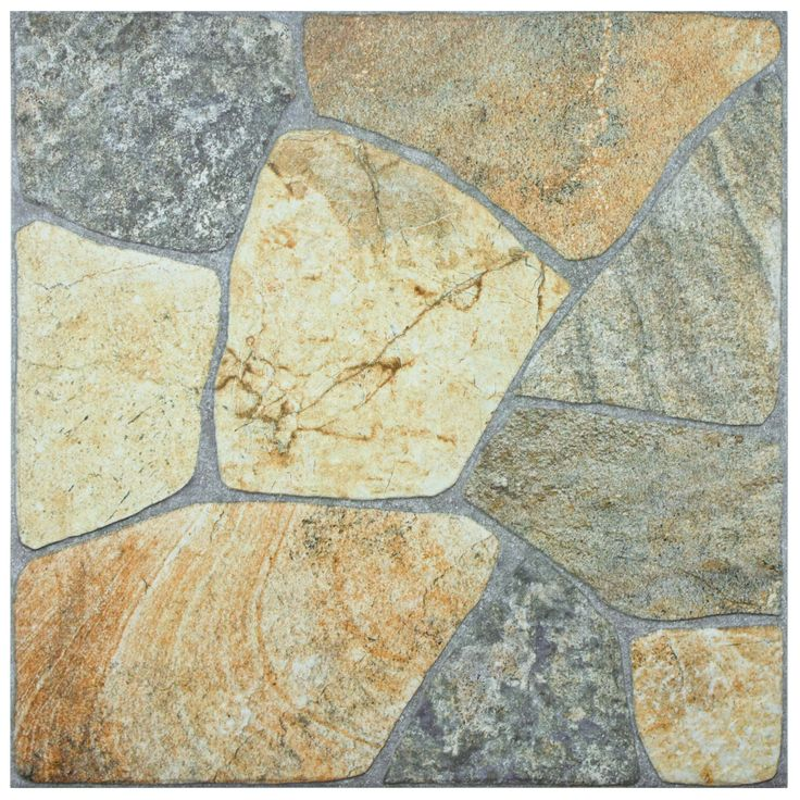 The SomerTile 17.375x17.375-inch Liva Rustico Porcelain Floor and Wall Tile features a mixture of natural tones within a gorgeously textured stone-like surface. Place this tile in your front entrance