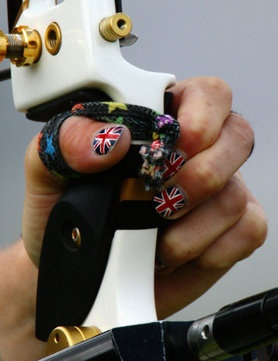 Amy Oliver, Team GB Archer, with Union Jack nail art