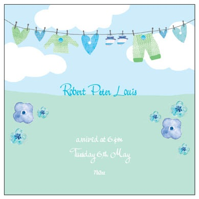 Clothes Line - personalised new baby announcement cards