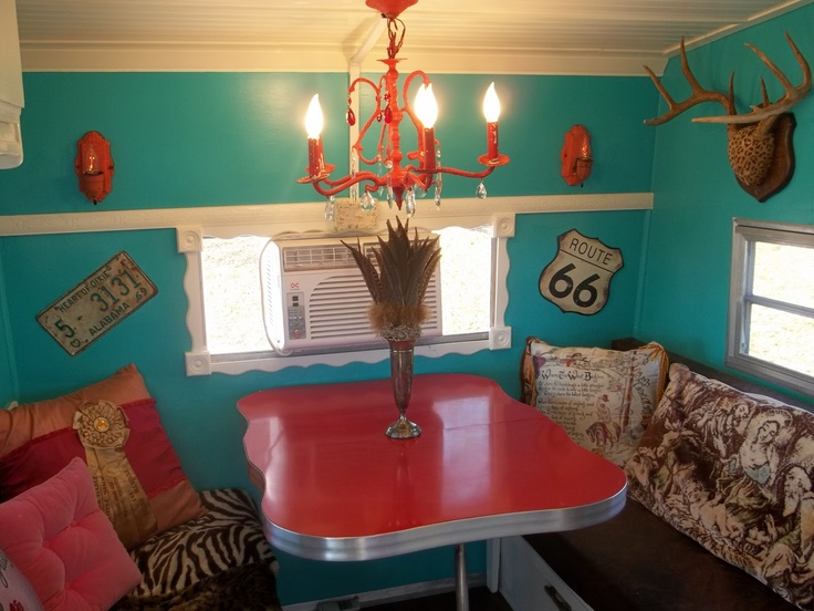 Texas Trash vintage trailer redo: Vintage Trailers, Retro Trailers, Interiors Color, Trailers Living, Travel Trailers, Caravan Interiors, Campers Ready, Red Tables, Vintage Campers